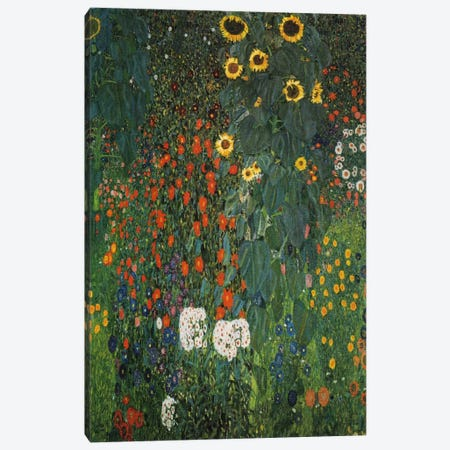 Farm Garden with Sunflowers 1912 Canvas Print #1097} by Gustav Klimt Canvas Wall Art