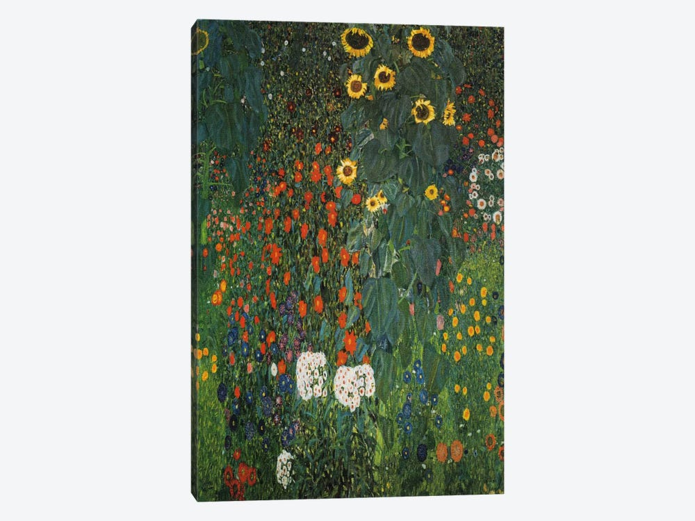 Farm Garden with Sunflowers 1912 by Gustav Klimt 1-piece Canvas Wall Art