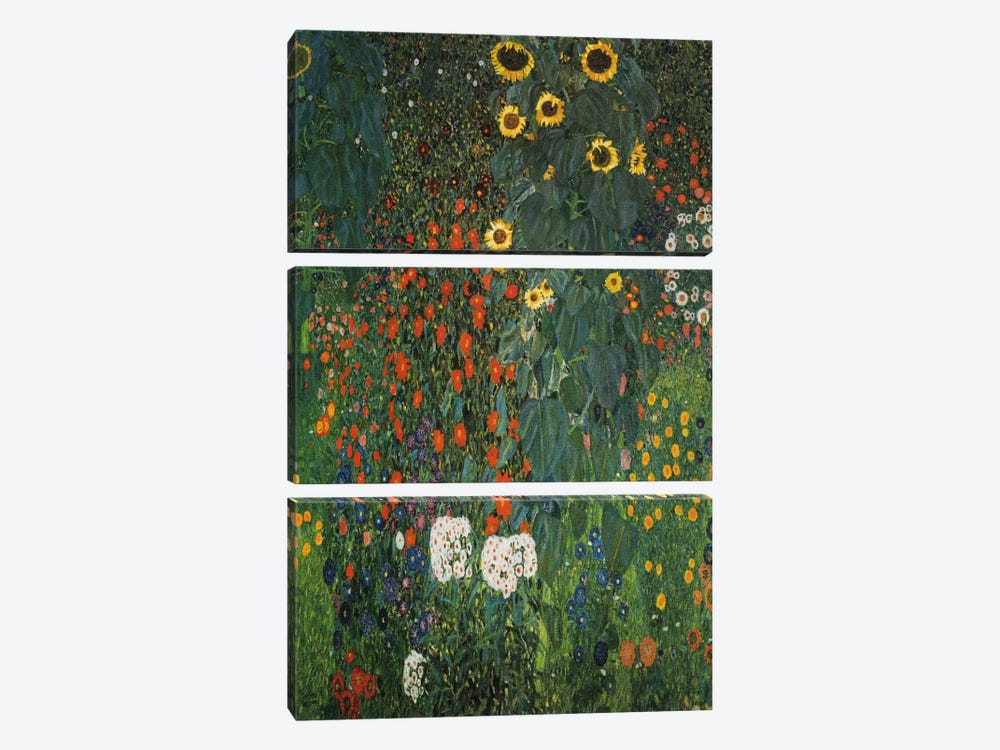 Farm Garden with Sunflowers 1912 by Gustav Klimt 3-piece Canvas Artwork