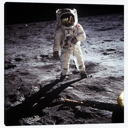 Buzz Aldrin Moonwalker Canvas Print #11026} by NASA Canvas Wall Art