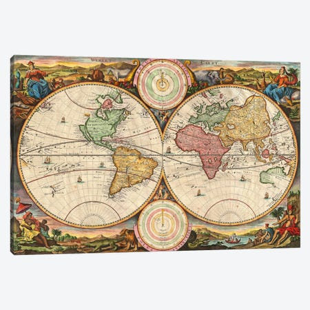 Antique Map of the World in two Hemispheres (1730) Canvas Print #11029} by Stoopendaal Canvas Print