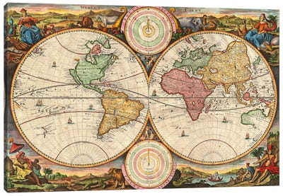 Antique Map of the World in two Hemispheres (1730) Canvas Art Print
