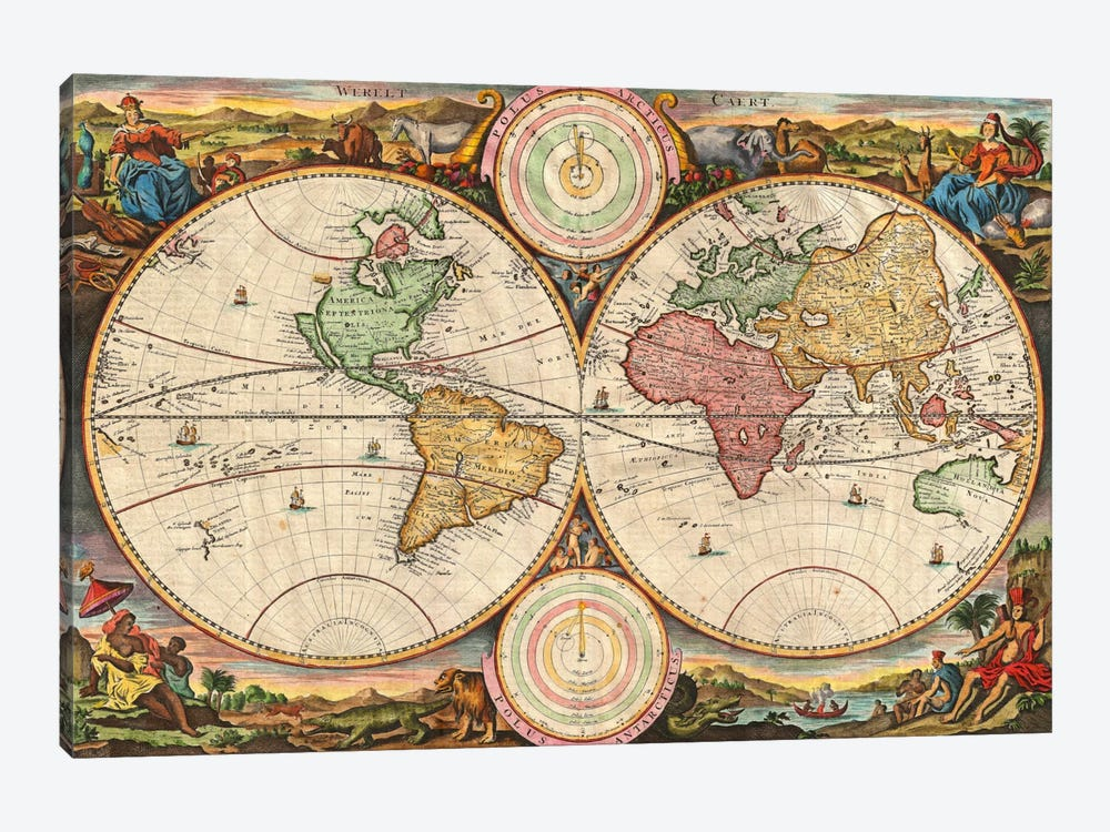 Antique Map of the World in two Hemispheres (1730) by Stoopendaal 1-piece Art Print