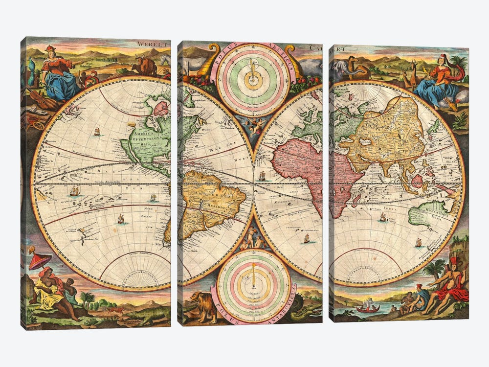 Antique Map of the World in two Hemispheres (1730) by Stoopendaal 3-piece Canvas Art Print