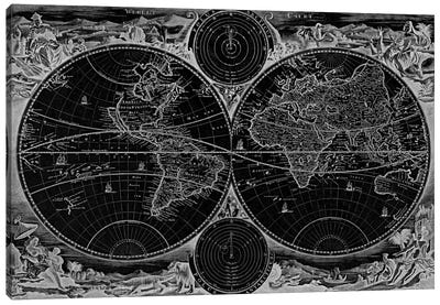 Antique Map of the World in two Hemispheres (1730) (Black) Canvas Print #11029B
