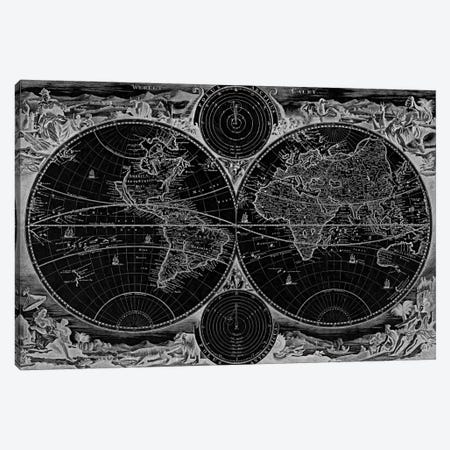 Antique Map of the World in two Hemispheres (1730) (Black) Canvas Print #11029B} by Stoopendaal Canvas Art Print