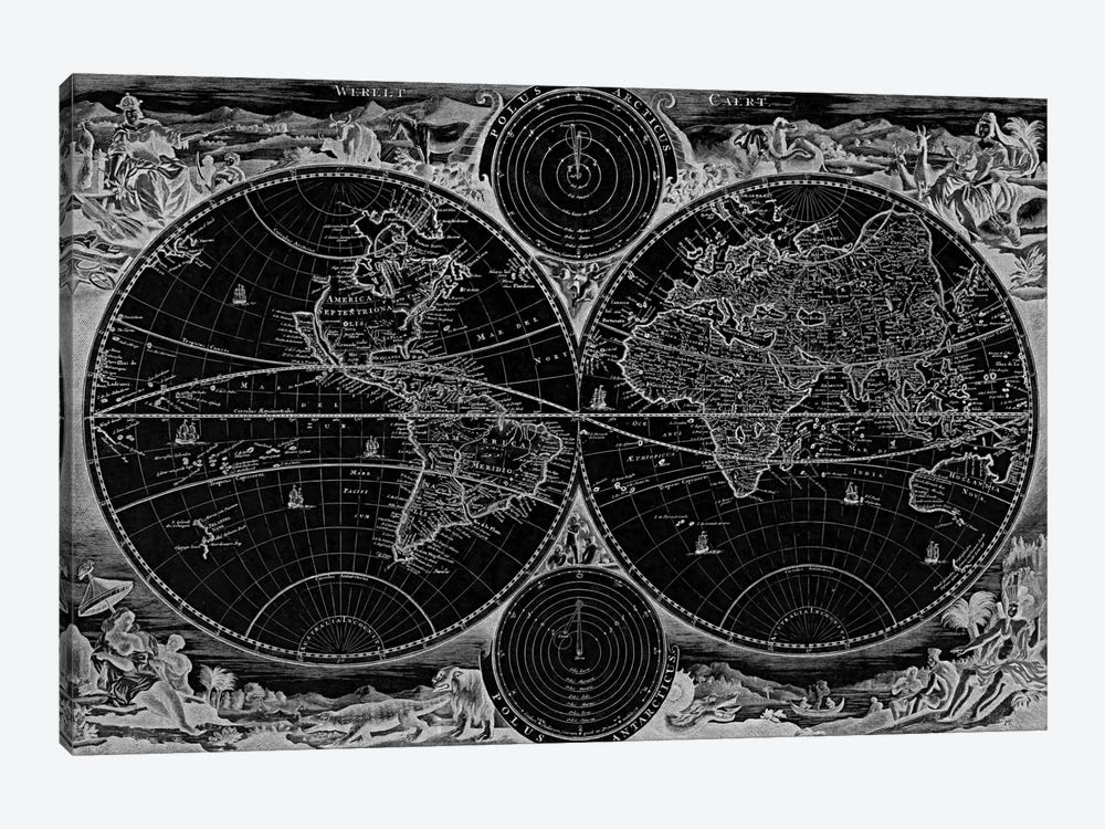 Antique Map of the World in two Hemispheres (1730) (Black) by Stoopendaal 1-piece Art Print