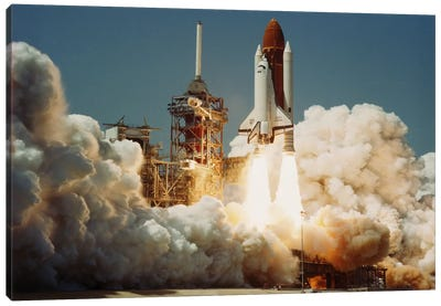 Space Shuttle Challenger Lift Off (1983) Canvas Art Print