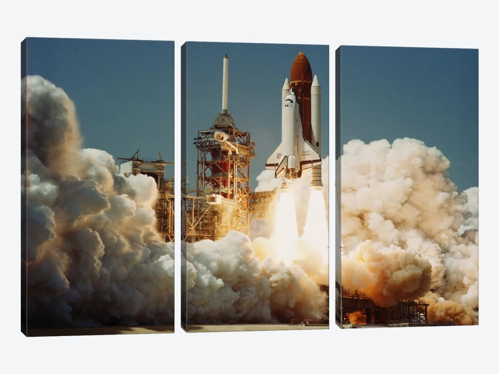 Space Shuttle Challenger Lift Off (1983) by NASA 3-piece Canvas Wall Art