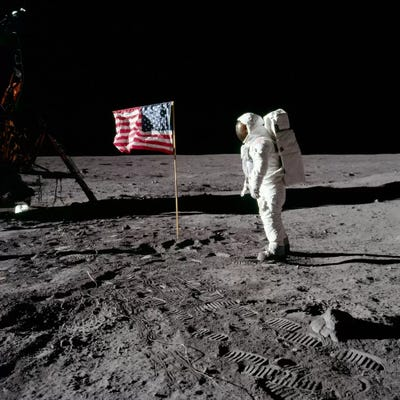 Neil Armstrong Placing American Flag on the Moon Canvas ...