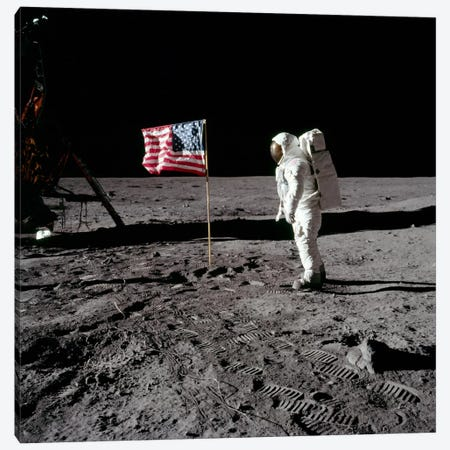 Neil Armstrong Placing American Flag on the Moon Canvas Print #11047} by NASA Canvas Wall Art