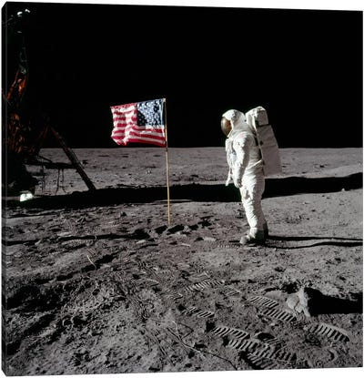 Neil Armstrong Placing American Flag on the Moon Canvas Art Print