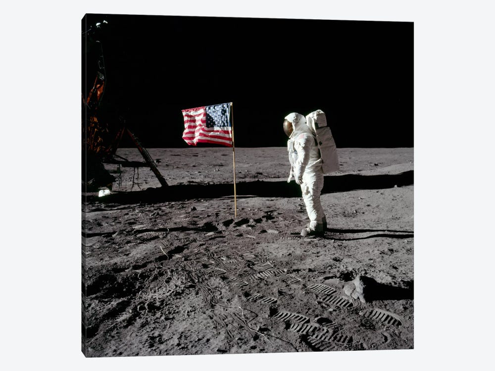 Neil Armstrong Placing American Flag on the Moon 1-piece Canvas Print