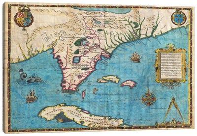 Map of Florida & Cuba (1588) Canvas Art Print