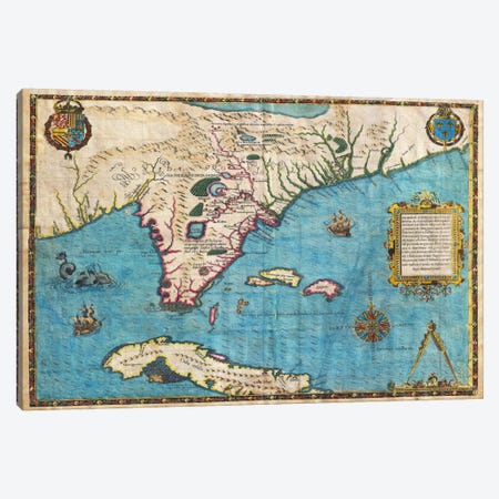 Map of Florida & Cuba (1588) Canvas Print #11070} by Jacques le Moyne de Morgues Canvas Wall Art