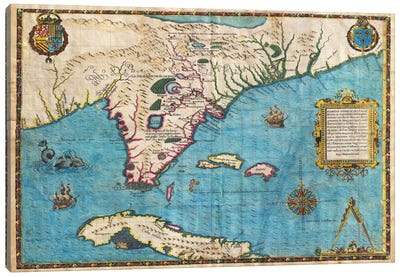 Map of Florida & Cuba (1588) Canvas Art Print