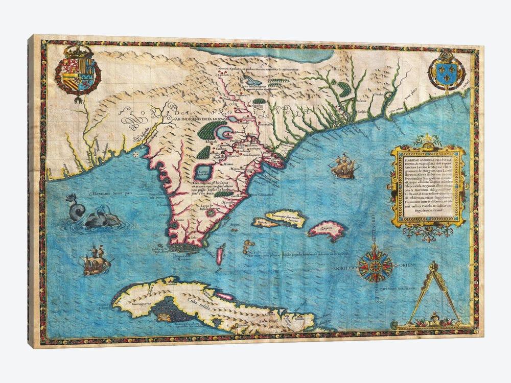 Map of Florida & Cuba (1588) by Jacques le Moyne de Morgues 1-piece Canvas Art Print
