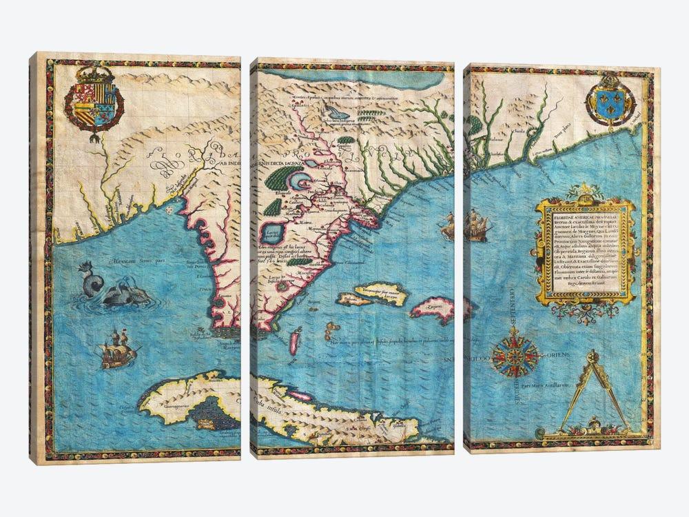 Map of Florida & Cuba (1588) by Jacques le Moyne de Morgues 3-piece Canvas Print