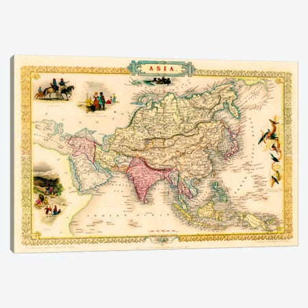 Antique Map of Asia (1851) Canvas Print #11094} by John Tallis Canvas Art Print