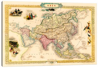 Antique Map of Asia (1851) by John Tallis Canvas Art Print