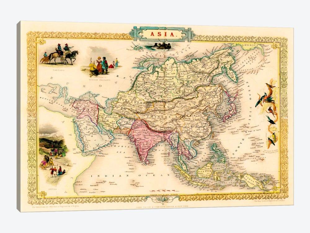 Antique Map of Asia (1851) by John Tallis 1-piece Canvas Print