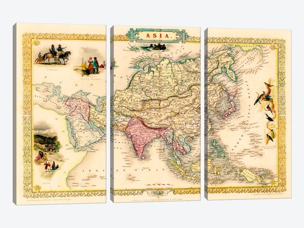 Antique Map of Asia (1851) by John Tallis 3-piece Art Print
