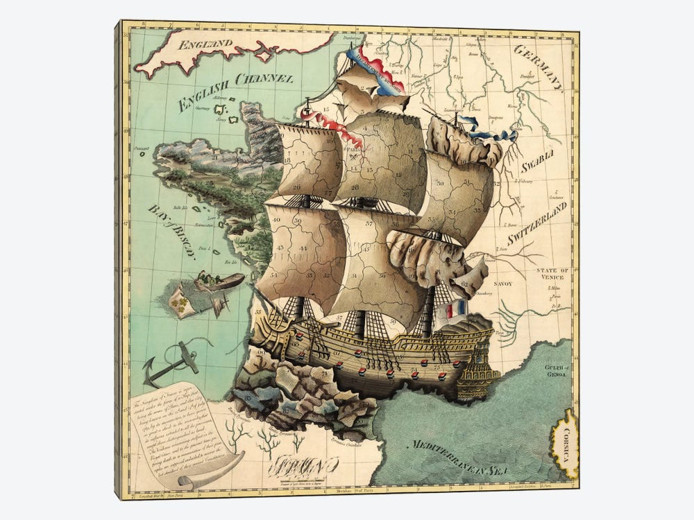 Antique Map of France by Unknown Artist 1-piece Canvas Artwork
