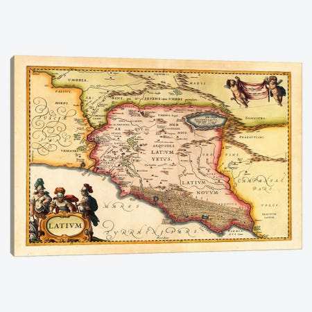 Antique Map of Lazio (Latium) (1949-1960)s Canvas Print #11101} by Johannes Janssonius Canvas Art