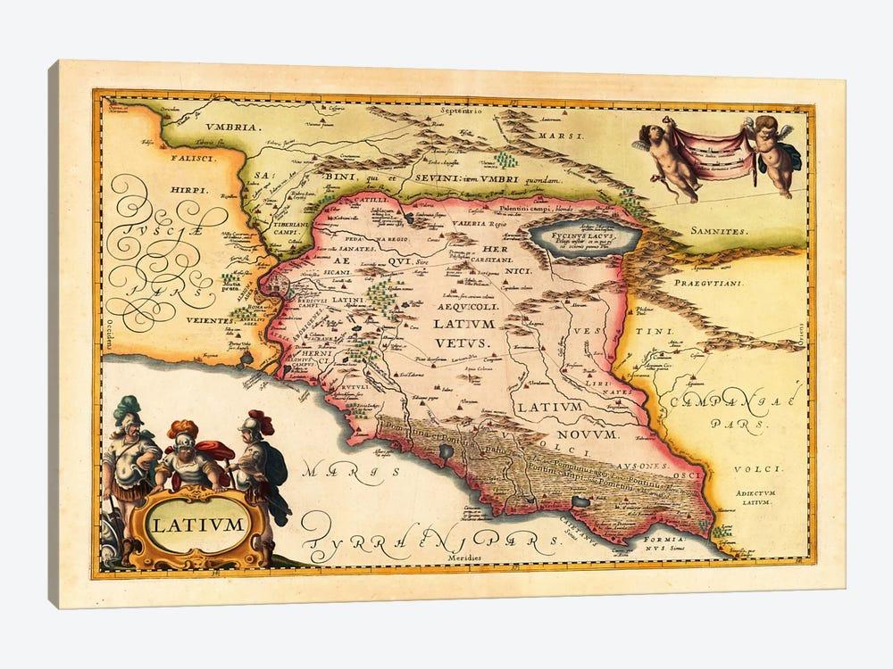 Antique Map of Lazio (Latium) (1949-1960)s by Johannes Janssonius 1-piece Canvas Art