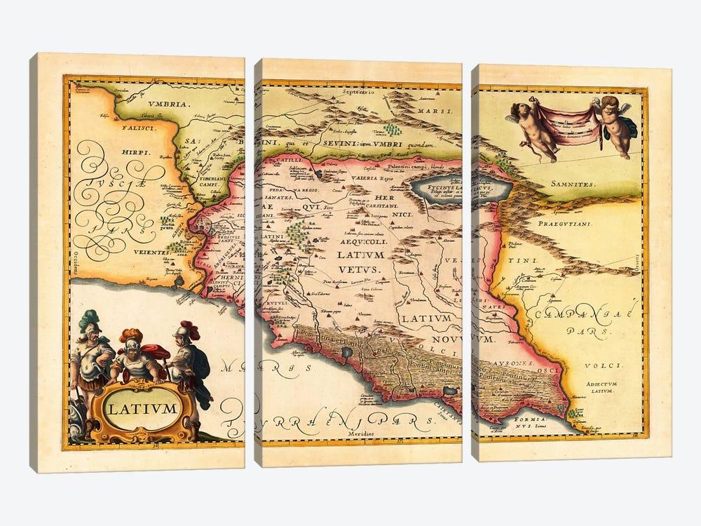 Antique Map of Lazio (Latium) (1949-1960)s by Johannes Janssonius 3-piece Canvas Wall Art