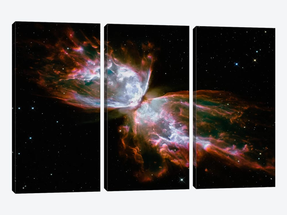 Butterfly Nebula (Hubble Space Telescope) by NASA 3-piece Canvas Wall Art