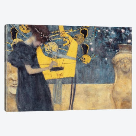 Musik I 1895 Canvas Print #1110} by Gustav Klimt Canvas Wall Art