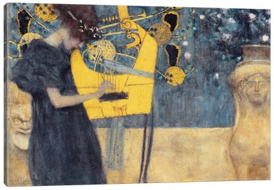 Musik I 1895 by Gustav Klimt Canvas Wall Art