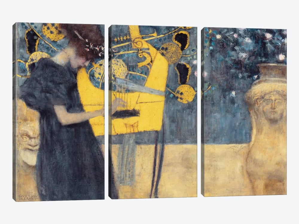 Musik I 1895 by Gustav Klimt 3-piece Canvas Artwork