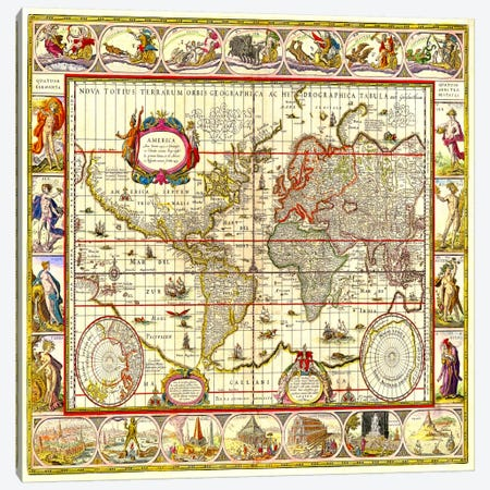 Map of the World Canvas Print #11110} by Unknown Artist Art Print