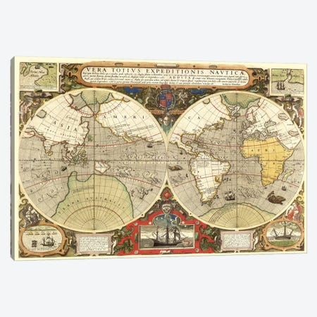 Historical Map of the World (1595) Canvas Print #11111} by Unknown Artist Canvas Print