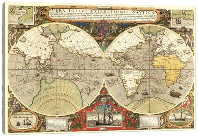 Historical Map of the World (1595) Canvas Art Print