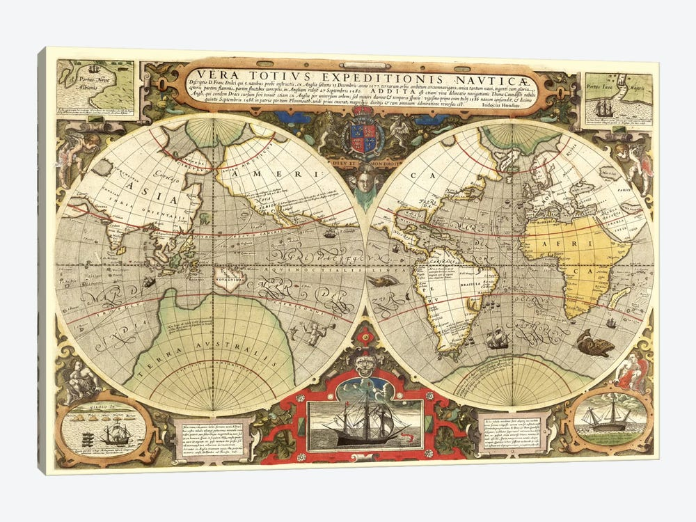 Historical Map of the World (1595) by Unknown Artist 1-piece Art Print