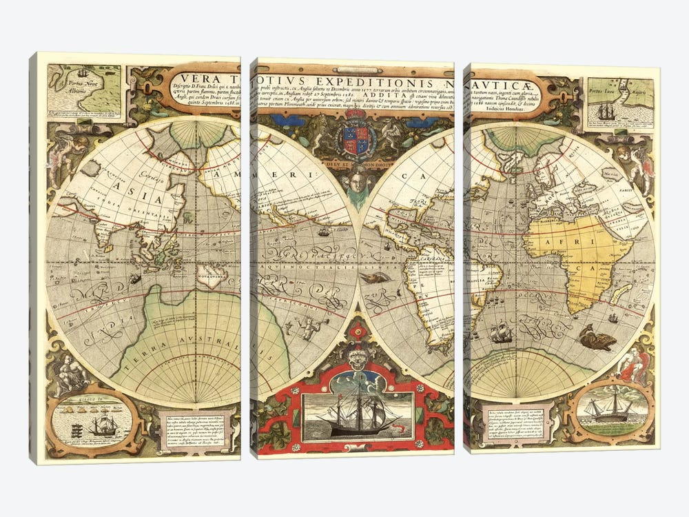 Historical Map of the World (1595) 3-piece Canvas Print