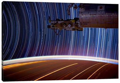 Long Exposure Star Photograph From Space Canvas Art Print