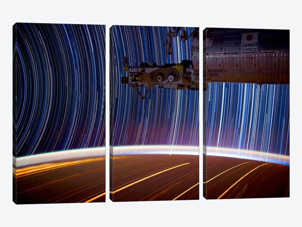 Long Exposure Star Photograph From Space by Unknown Artist 3-piece Canvas Print