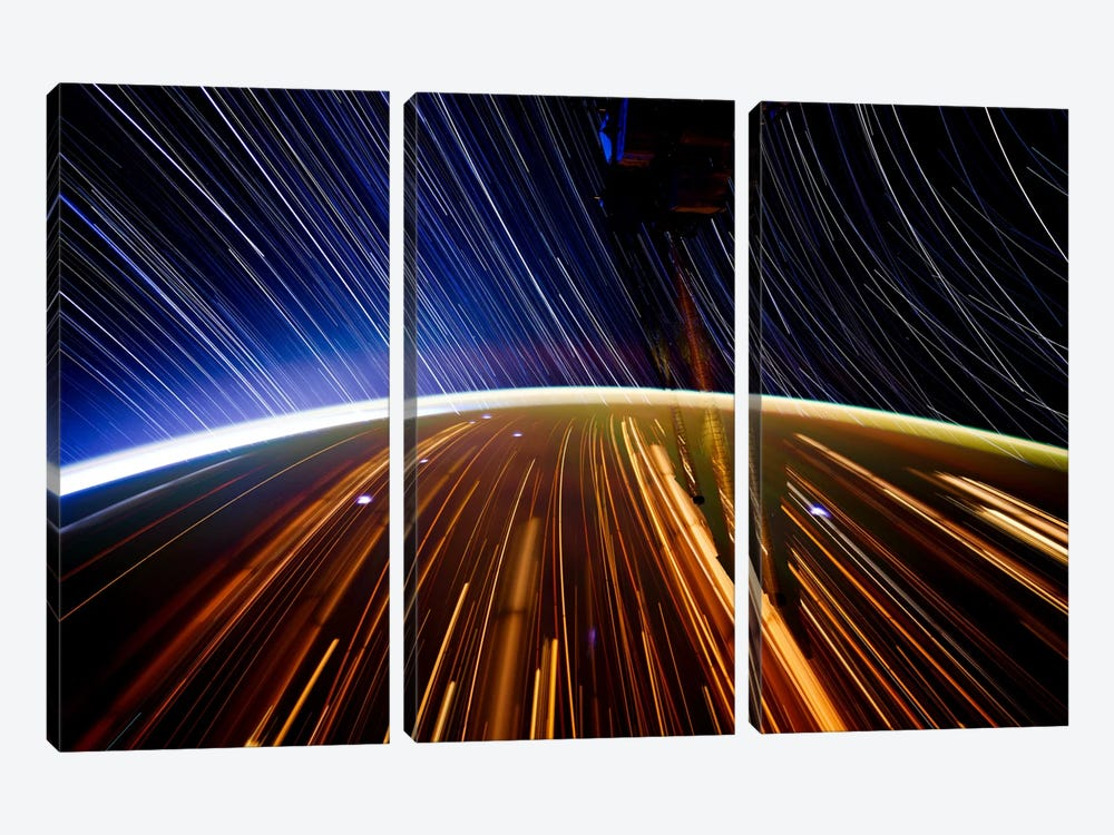 Long Exposure Star Photograph From Space II 3-piece Canvas Wall Art