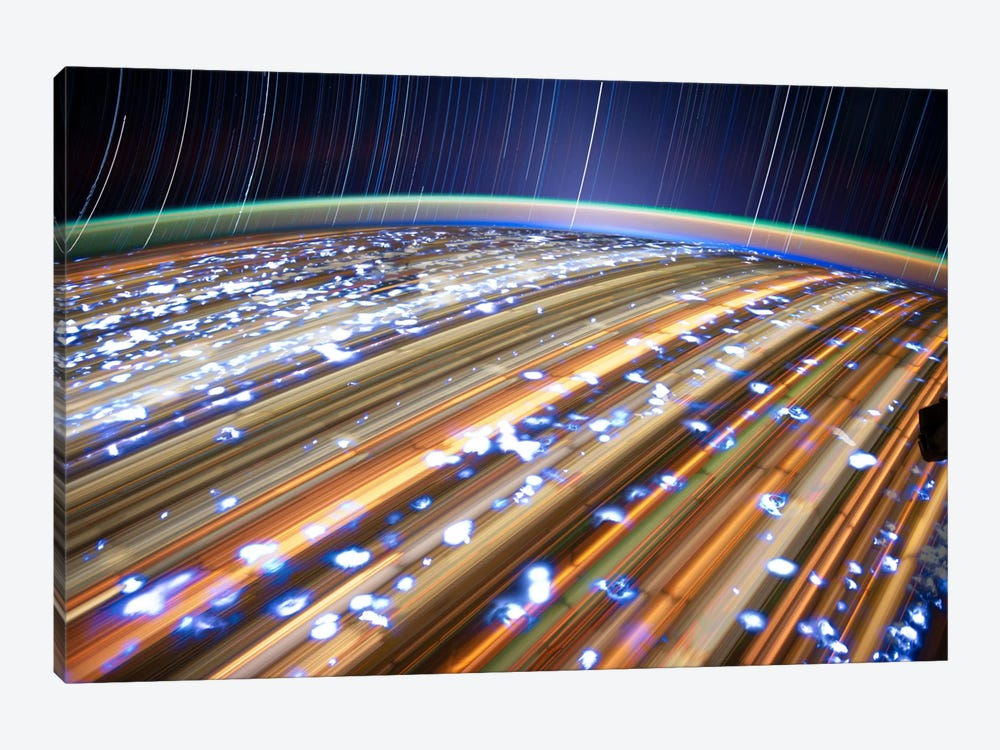 Long Exposure Star Photograph From Space III by Unknown Artist 1-piece Canvas Print