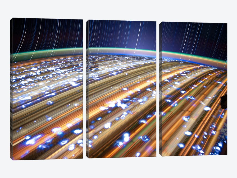 Long Exposure Star Photograph From Space III by Unknown Artist 3-piece Canvas Art Print