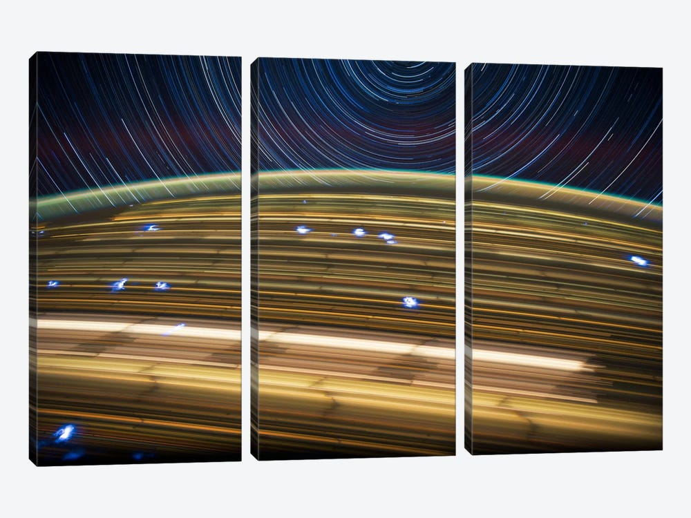 Long Exposure Star Photograph From Space IV 3-piece Canvas Artwork