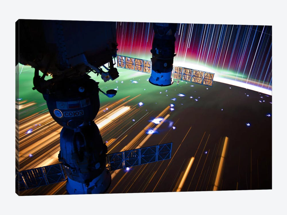 Long Exposure Star Photograph From Space VI 1-piece Canvas Art