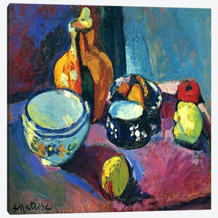 Dishes & Fruit Canvas Print #11128} by Henri Matisse Canvas Artwork