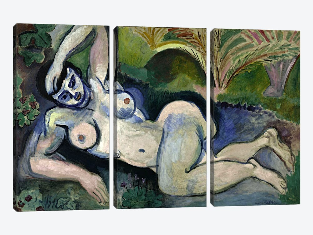 Blue Nude or Souvenir of Biskra (1906) 3-piece Canvas Wall Art
