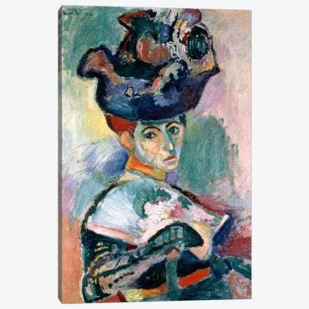 Woman in a Hat (1905) Canvas Print #11134} by Henri Matisse Canvas Wall Art