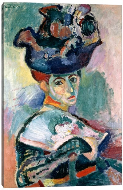 Woman in a Hat (1905) by Henri Matisse Canvas Wall Art